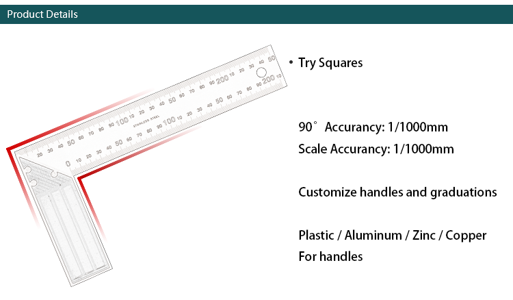 250MM/10Inch Steel Try Square/Tri Square Ruler with ZInc Handle