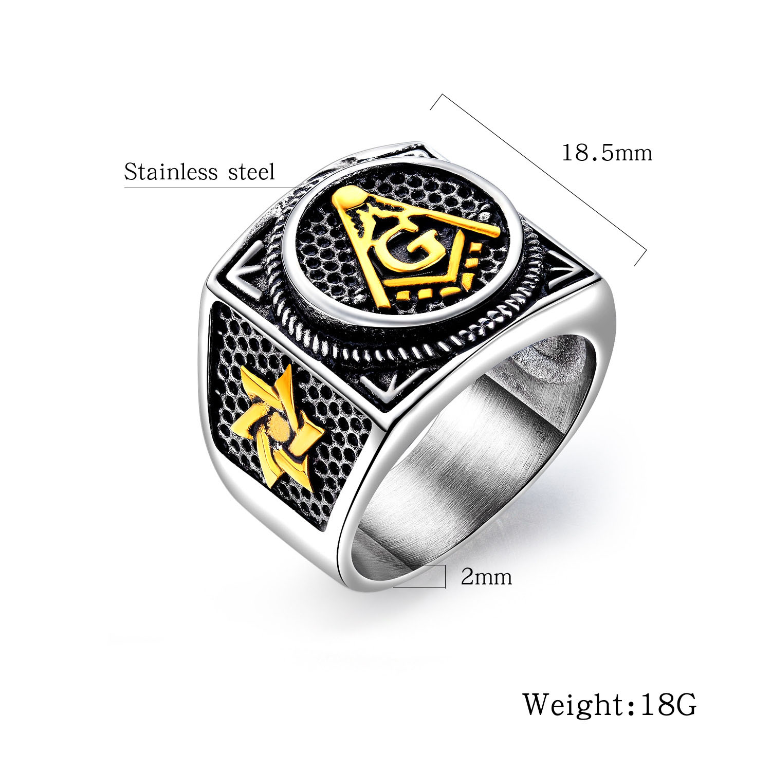 Vintage stainless steel star of david masonic rings for man