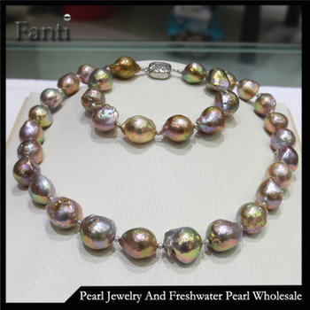 Large Baroque Pearls Necklace And Bracelet Set