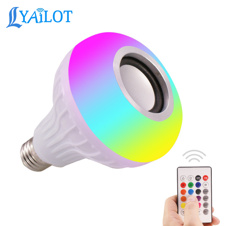12W E27 AC110-240V Smart RGB Bluetooth Speaker Music Playing led bulb with Remote Control