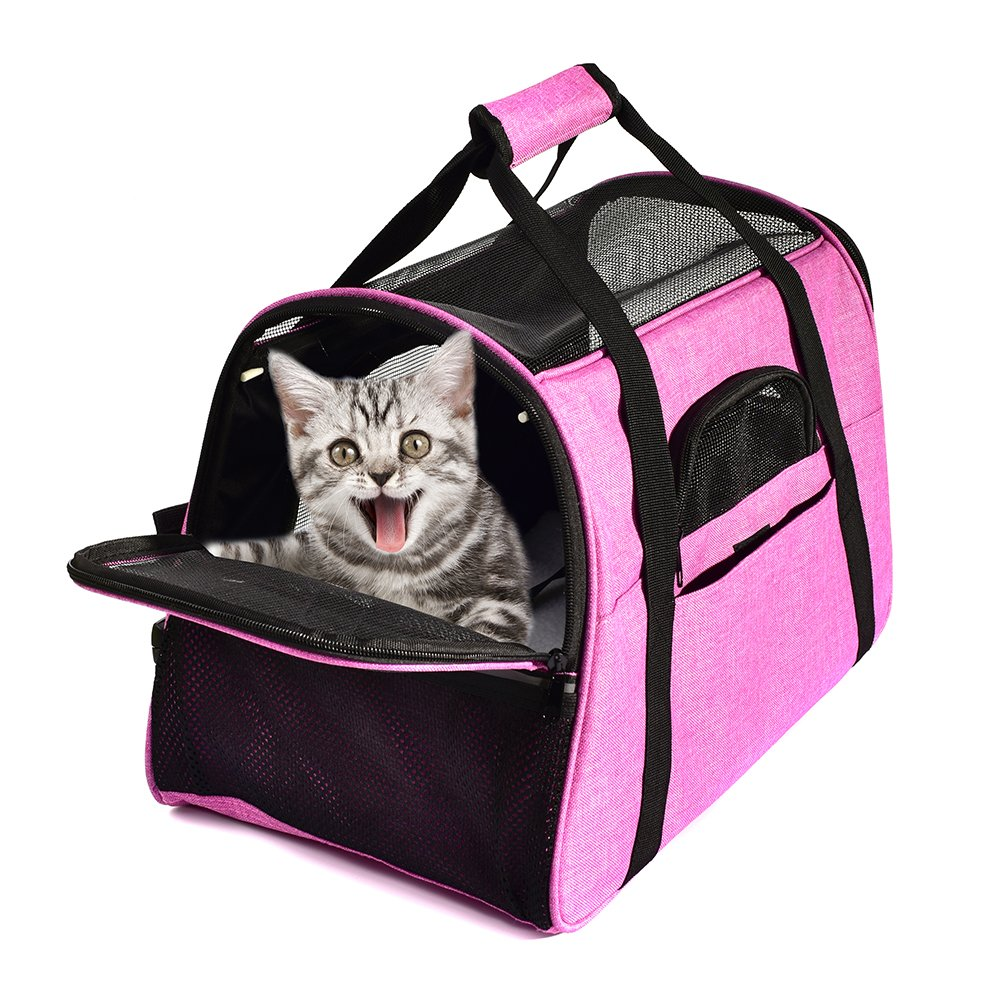 """OHICO Pet Cat Carrier - Airline Approved Soft Sided Pet Travel Bag - Collaspible Carrier for Guinea Pig, Kittens, Small Dogs - 17.7"""" Lx11 Wx10.6 H"""