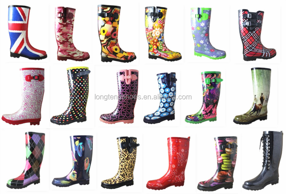 Fashion And Cute Flower Wellington Boots Ladies Rubber Rain Boots ...