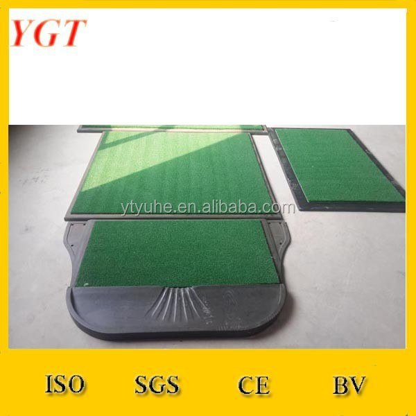 Artificial golf hitting mat turf for driving range tee lines