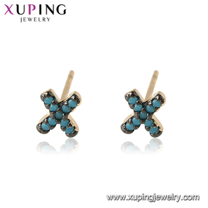 95001 xuping fashion design 18k gold plated women jewelry letter x blue turquoise stud earrings
