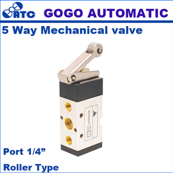GOGO 5 way Pneumatic air hand operated control valves 1/4 inch exhaust Manual Mechanical valve MSV86522-R with Roller Type