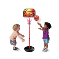 Kids Portable Mini Basketball Hoop Stand Height Adjustable Toy Set with Metal Rim, Ball & Net | Indoor Outdoor Kit for Toddlers,