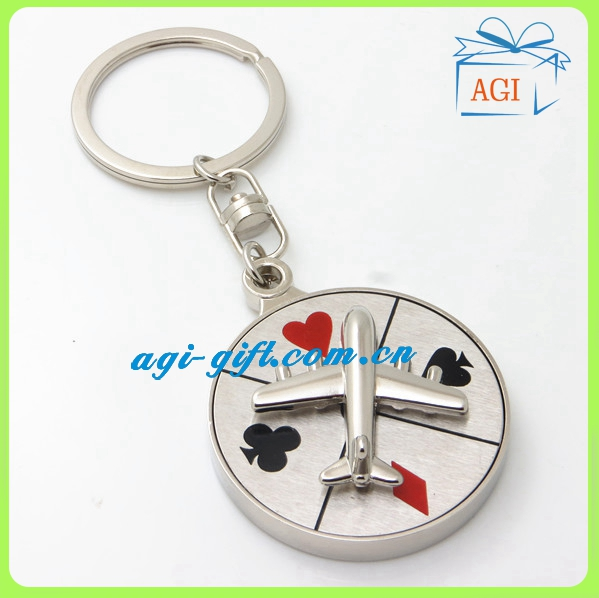 Rotate Airplane Revolve Dial Playing Cards Symbol Round Shaped Metal Souvenir Aviator Keychain