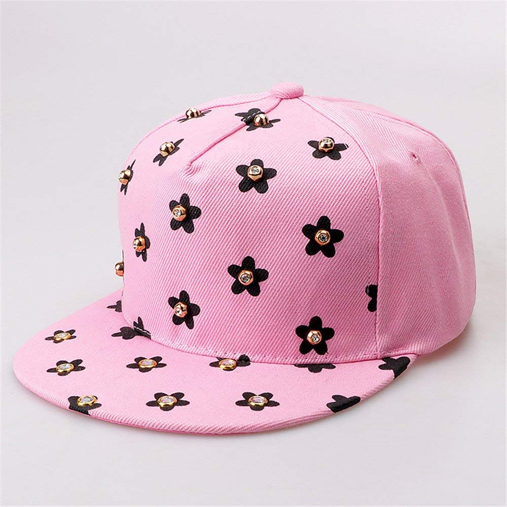 The parent-child baseball cap winter cap fashion hat female male sun peaked cap flat spring autumn,[children's],Baseball cap - Pink Diamond flat brim section