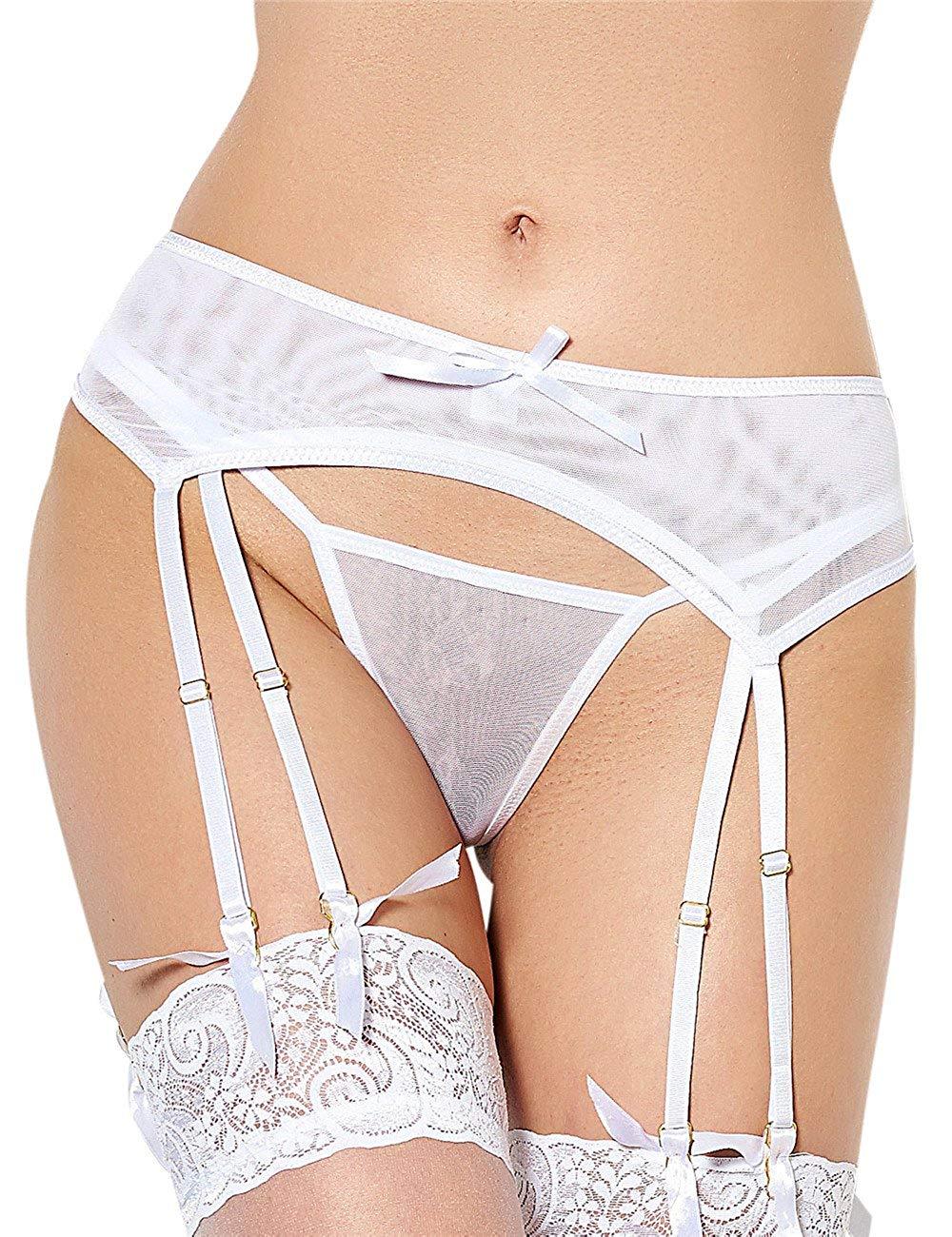 4c655c4d5 ohyeahlady Women s Transparent Garter Belt Set Plus Size Suspender Belt  with G-String Garter Panty