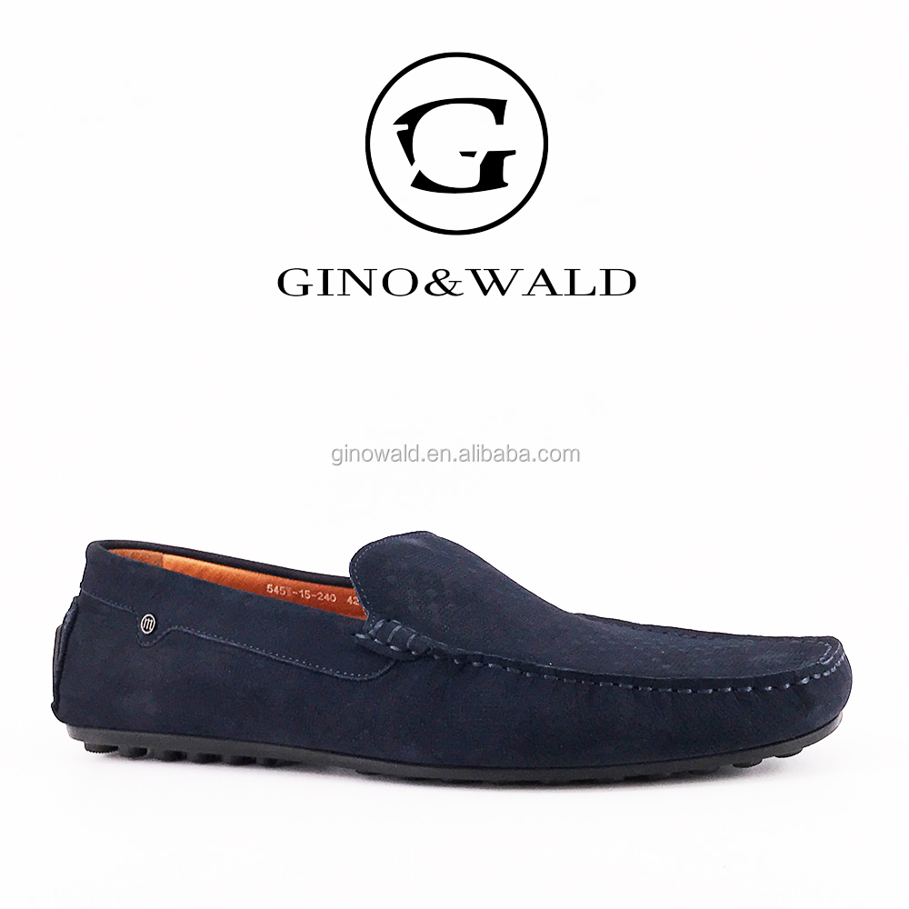 2017 Navy blue nubuck suede leather men's loafers casual shoes