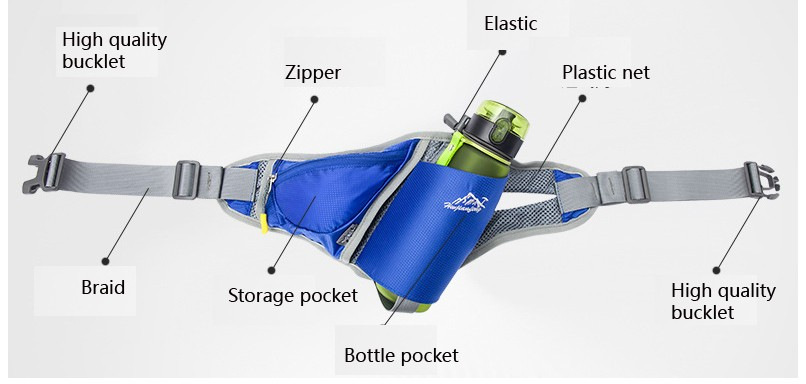 Anti-theft portable Light weight waterproof running waist bag with bottle holder