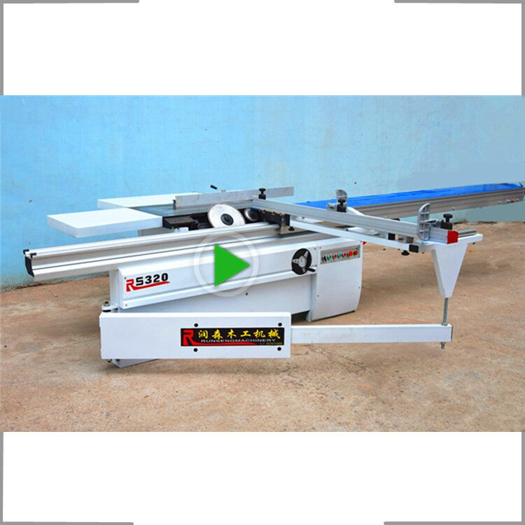 Sliding table panel saw machine with scoring blade for woodworking