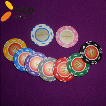 Two tone crown clay casino poke chips in stock,
