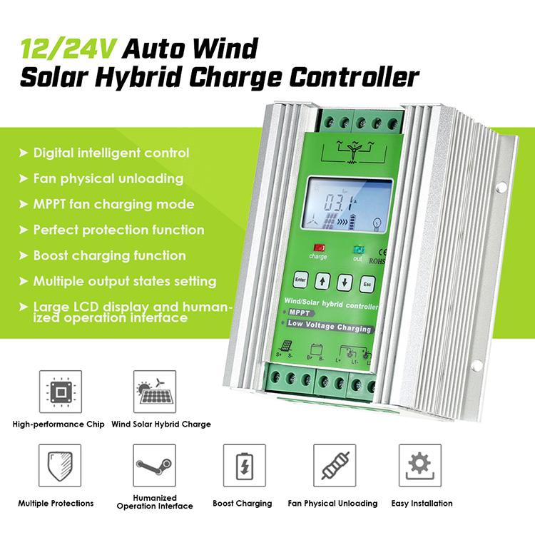300W-600W LCD Wind Solar Hybrid Charge Controller 12//24V JW-MPPT PWM Mode
