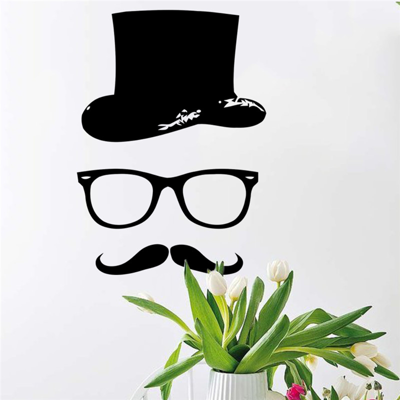 hipster Hat Glasses Beard Vinyl Wall sticker Art wall decals home decor