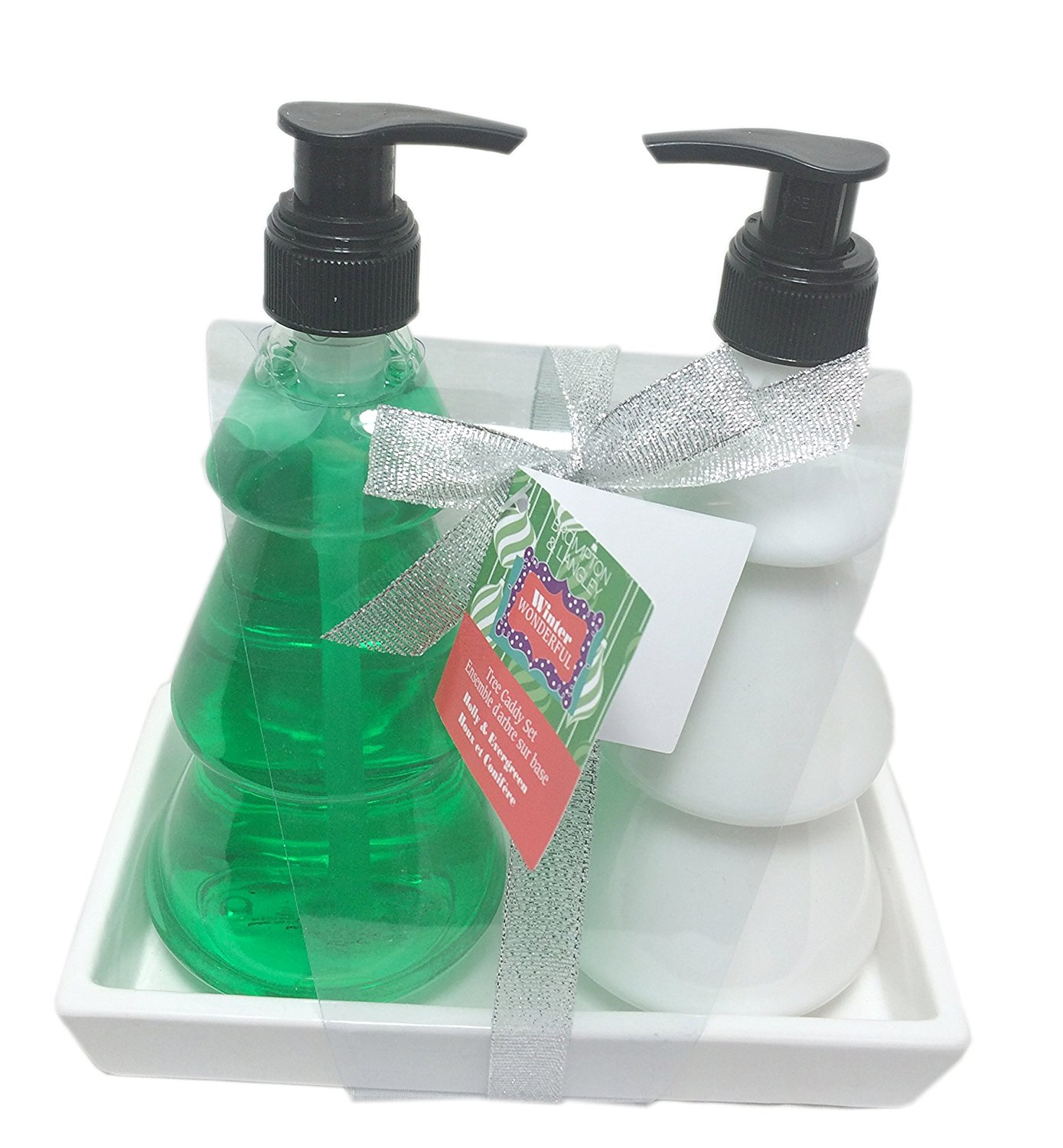 Holiday Tree Shaped Scented Hand Soap and Lotion Gift Caddy ~ Holly and Evergreen