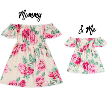 Off Shoulder Mother daughter dresses Floral plus size Mother and daughter clothes elastic mom and daughter dress