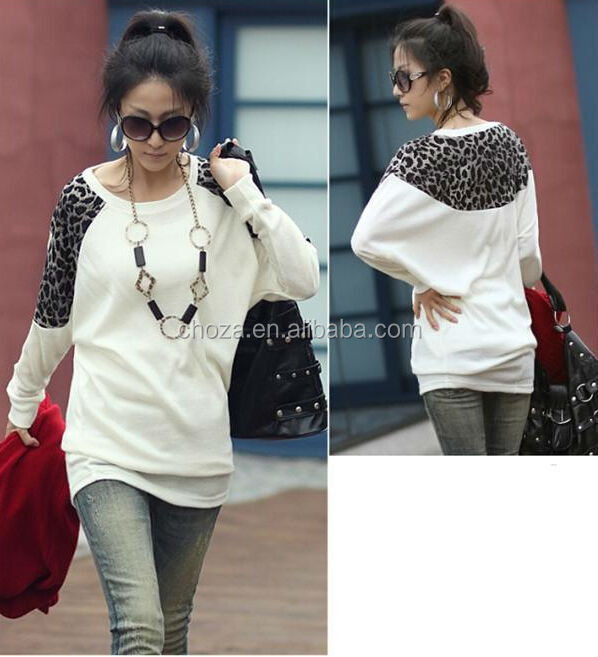 C27213A Korean Style Lady Winter Leopard Casual Tops