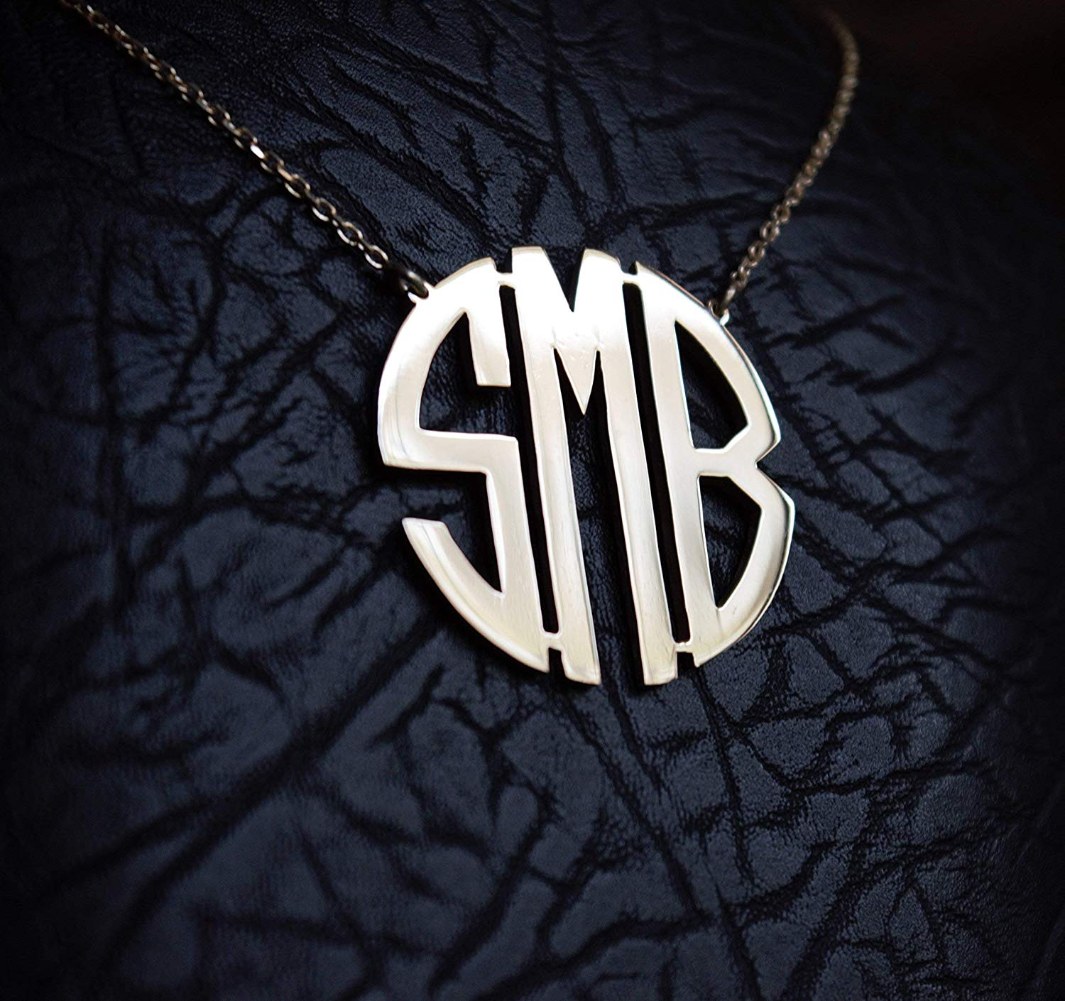 HANDMADE Personalized Block Monogram Necklace in Sterling Silver 0.925-Rose Gold