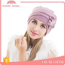 OCEAN ANGEL Custom shaped knitting cap womens winter woman winter cap hat bow knitted beanie with flower