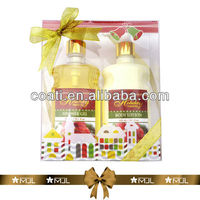 PVC box shower gel and body lotion bath set celebrate gifts foot scrub