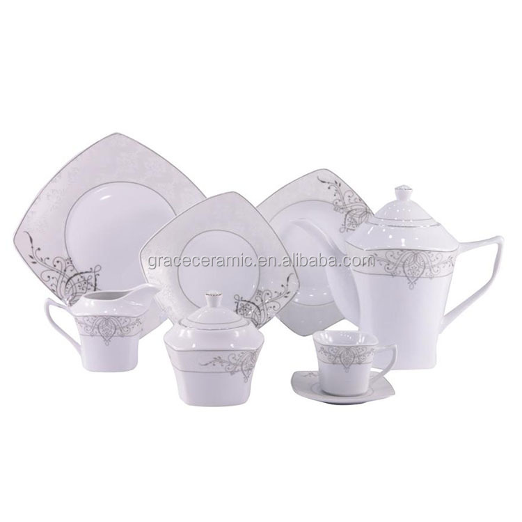Cheap pakistan ceramic bone china white color square design 72 pcs 75 pcs dinner set