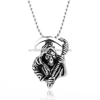 19e9fa81f49f2 New Halloween Charms Jewelry Personality Grim Reaper Skeleton Necklace  Women Men Vintage Tribal Indian Pendants