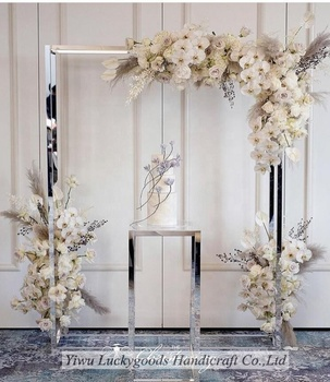 LG20190611-7 large silver metal frame flower stand for Wedding decoration wholesale