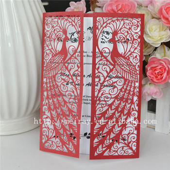 Wedding supplies wedding card design peacock laser cut red wedding wedding supplies wedding card design peacock laser cut red wedding invitations filmwisefo
