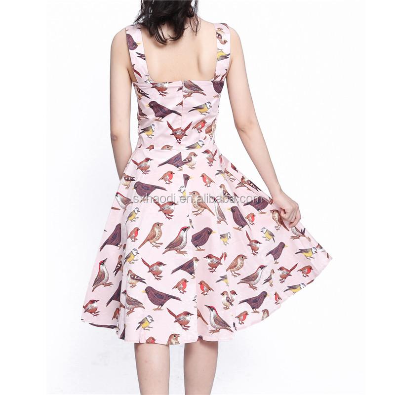82796157e Verano Vintage pájaro jardín fiesta Picnic vestido de fiesta vestido de  cóctel ...