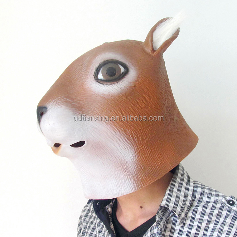 Custom Colored Fascinating Squirrel Animal Party Supplies Head Face Latex Masks