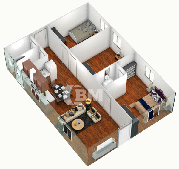Design a 3 bedroom house