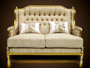 Royal Golden Aluminium Frame Sofa Furniture Luxury Clic Design European Style Elegant Living Room Home Fabric