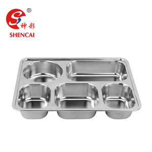 Fast Food Tray Stainless Steel 5 Compartment Student Lunch Plate Canteen Serving Tray
