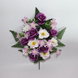 Real touch purple rose and orchid artificial bushes flower with 18 branches
