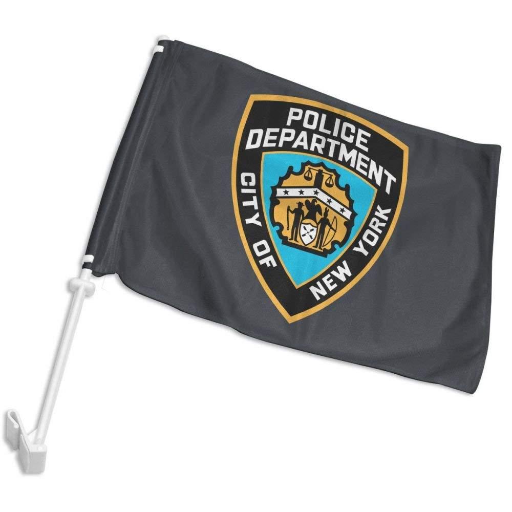 23609272b Get Quotations · YuRuoLLG NYPD Logo Car Flag Window Clip On Flag - 12