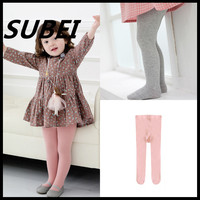 Children socks Spring and Autumn Korean princess Fan solid color knit cotton tights