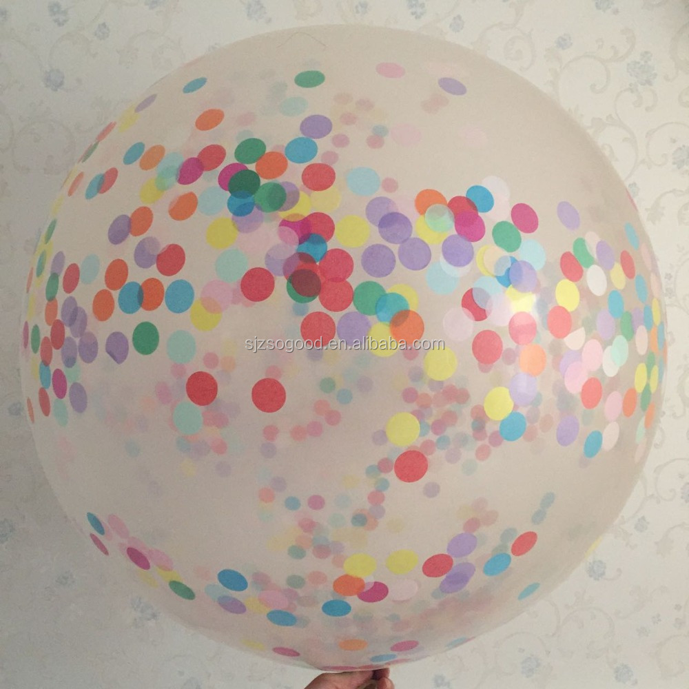 "Top Quality Giant Clear Confetti 36"" Balloon Printed with Happy Birthday Beautiful Balloon for Birthday Party"