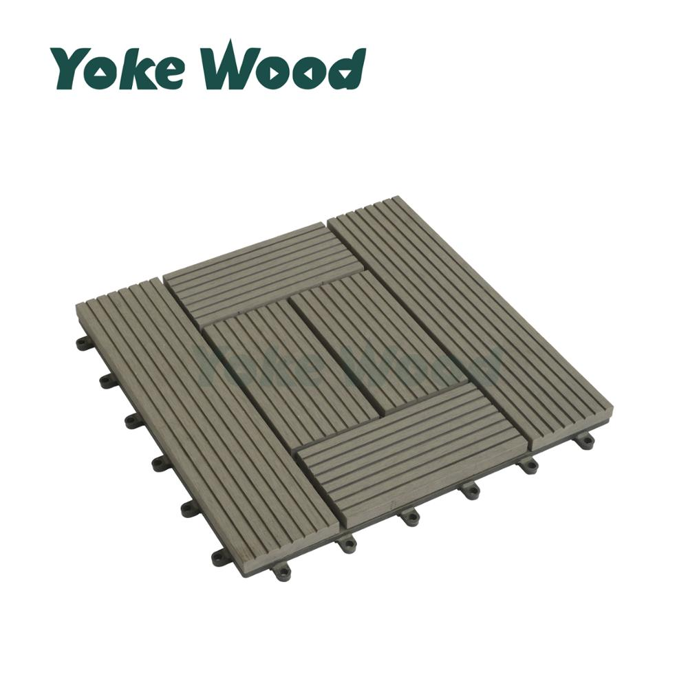 Porch / Balcony Cheap Composite Decking Wood Plastic Solid WPC Tile DIY Flooring