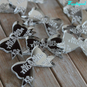 Mirror Acrylic Etched Bow Shape Wedding Favor Couple Name Gift Tags