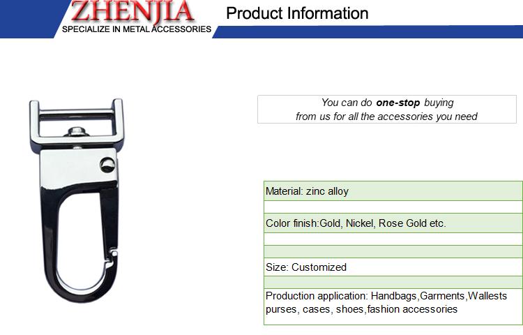 Customized metal logo snap swivel hook for handbag strap