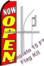 Complete Flag Kit - Includes 12' Swooper Feather Business Flag with 15-foot Anodized Aluminum Flagpole and Ground Spike