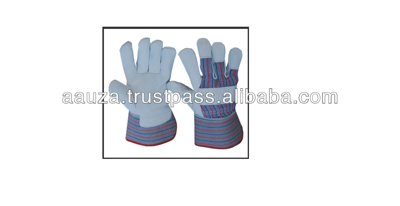 Premium Top Grain Leather Rigger Gloves, Rubberized safety cuff and cotton cloth back with soft fleece lining