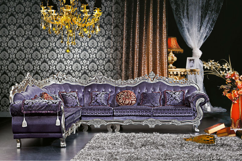 Danxueya European Design Modern Furniture Ornate Corner Sofa Purple Royal Living Room