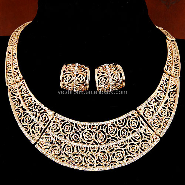 chunky costume necklace earring set gold plated africa jewelry