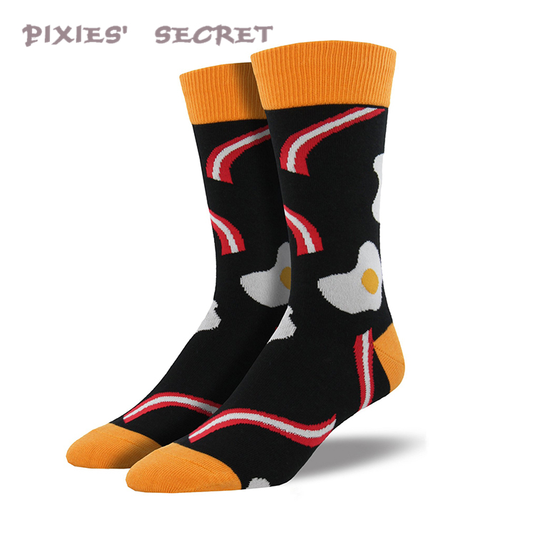 2017 High quality wicking cotton bacon egg jacquard custom man sock manufacturer
