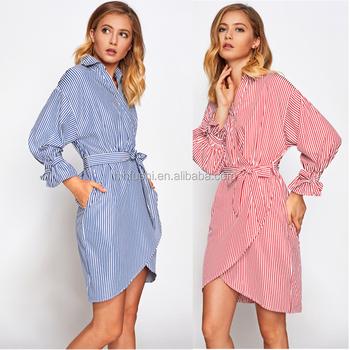 2d0cfc1757a Оптовая продажа одежды дамы шикарные фантазии связали рукава и талии синяя  полоса v-образным вырезом