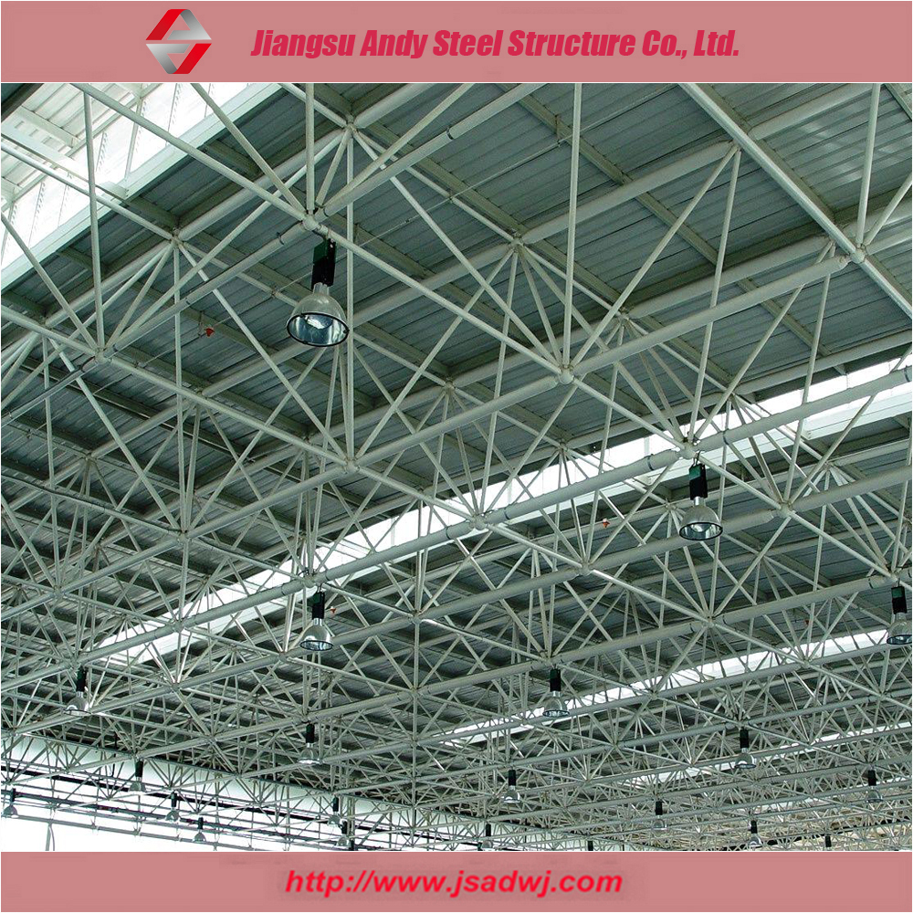Prefab construction of steel grid frame roof