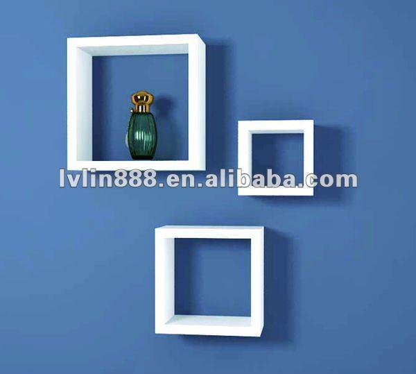 Dekorative Holz Regale Holz Kubus Regal Wall Cube Regal Schwebender