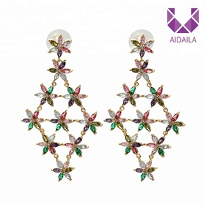 AIDAILA Jewelry Factory Wholesale Luxury Hanging Diamond Bridal CZ Earrings